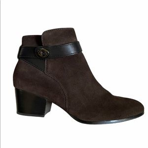 COACH PAULINA BROWN SUEDE ANKLE SIDE ZIPPER BOOTS